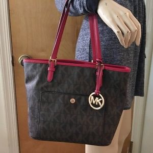 MICHAEL KORS Brown/Chili RED Medium Snap Pkt Tote